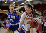 VERMILLION, SD: JANUARY 13:  Chloe Lamb #22 of South Dakota drives past Hannah Albrecht #10 of Ft. Wayne during their Summit League game Saturday January 13 at the Sanford Coyote Sports Center in Vermillion, S.D.   (Photo by Dick Carlson/Inertia)