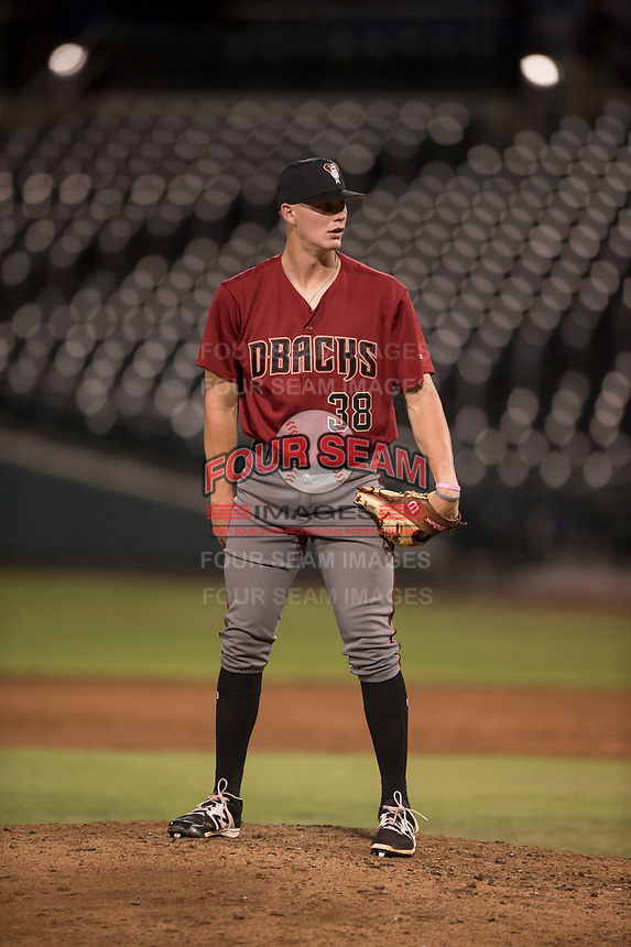 AZL Diamondbacks relief pitcher Harrison Francis (38) looks to his catcher for the sign during an Arizona League game against the AZL Cubs 1 at Sloan Park on June 18, 2018 in Mesa, Arizona. AZL Diamondbacks defeated AZL Cubs 1 7-0. (Zachary Lucy/Four Seam Images)