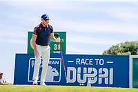 Danny Willett (ENG) on the 1st tee during the 1st round of the 2017 Portugal Masters, Dom Pedro Victoria Golf Course, Vilamoura, Portugal. 21/09/2017<br /> Picture: Fran Caffrey / Golffile<br /> <br /> All photo usage must carry mandatory copyright credit (&copy; Golffile | Fran Caffrey)