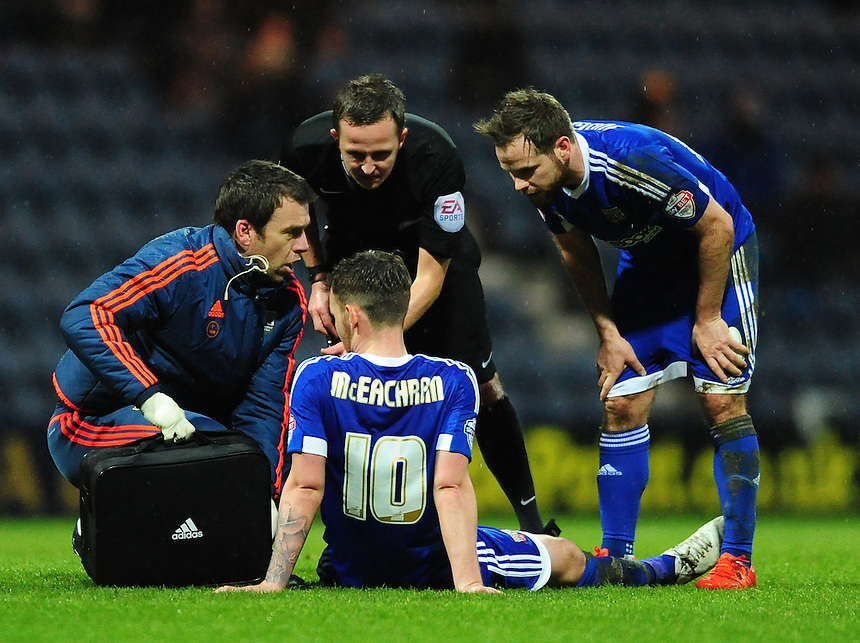 Brentford's Josh McEachran receives treatment for an injury which forced him to be substituted<br /> <br /> Photographer Chris Vaughan/CameraSport<br /> <br /> Football - The Football League Sky Bet Championship - Preston North End v Brentford - Saturday 23rd January 2016 -  Deepdale - Preston<br /> <br /> &copy; CameraSport - 43 Linden Ave. Countesthorpe. Leicester. England. LE8 5PG - Tel: +44 (0) 116 277 4147 - admin@camerasport.com - www.camerasport.com