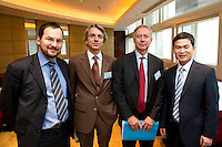 L-R: Suez China CEO Raphael Schoentgen, French Consul General in Shanghai Emmanuel Le Nain, Paris Europlace Chief Executive Arnaud de Bresson, Shanghai Municipal Government Financial Services Director-General Fang Xinghai, pose for a photograph at Shanghai / Paris Europlace Financial Forum, in Shanghai, China, on December 1, 2010. Photo by Lucas Schifres/Pictobank