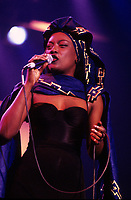 Montreal (Qc) CANADA - Nov 1993 File Photo -<br /> <br /> Khadja Nin at Les Francofolies de Montreal.<br /> <br /> Khadja Nin (born June 27, 1959) is a Burundi singer and musician. She was born in Burundi as the youngest of a family of eight. Her father was a diplomat. She studied music at an early age like most of her brothers and sisters. With her exceptional singing voice, at the age of 7 she became one of the lead vocalists in the Bujumbura choir and performed in the local cathedral.<br /> <br /> Khadja left Burundi for Zaire in 1975 and got married in 1978. In 1980 she emigrated to Belgium with her two-year old son. In 1985 she met musician Nicolas Fiszman, who helped her get a contract with BMG. Her second album, a 1994 release entitled Ya Pili, was critically acclaimed. Her breakthrough, however, came in 1996 with her widely popular album Sambolera, which was sung in Swahili, Kirundi, and French. Khadja Nin successfully used a blend between African rhythms and modern pop to create her own unique brand of music. One of her most popular songs is Sina Mali, Sina Deni, a translated cover version of Stevie Wonder's song Free.<br /> <br /> -Photo (c)  Images Distribution