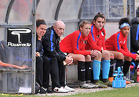 Monfalcone, Italy, April 26, 2016.<br /> USA's head coach Taliaferro (L) looks on during USA v Iran football match at Gradisca Tournament of Nations (women's tournament). Monfalcone's stadium.<br /> © ph Simone Ferraro / Isiphotos