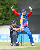 ICC World T20 Qualifier (Warm up match) - Scotland V Namibia at Grange CC, Edinburgh - Namibia keeper Jean-Pierre Kotze claims successfully for lbw on Scotlands Kyle Coetzer, on 28 — credit @ICC/Donald MacLeod - 06.7.15 - 07702 319 738 -clanmacleod@btinternet.com - www.donald-macleod.com