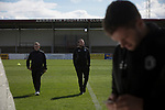 Away manager Gary Jardine (left) and midfielder Craig Beattie chatting on the pitch at Gayfield Park before Arbroath hosted Edinburgh City in an SPFL League 2 fixture. The newly-promoted side from the Capital were looking to secure their place in SPFL League 2 after promotion from the Lowland League the previous season. They won the match 1-0 with an injury time goal watched by 775 spectators to keep them 4 points clear of bottom spot with three further games to play.
