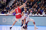 Real Madrid's Jeffery Taylor and EA7 Emporio Armani Milan's Mantas Kalnietis during Turkish Airlines Euroleage match between Real Madrid and EA7 Emporio Armani Milan at Wizink Center in Madrid, Spain. January 27, 2017. (ALTERPHOTOS/BorjaB.Hojas)