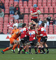 Lourens Erasmus of the Emirates Lions  during the Super Rugby quarter-final match between the Emirates Lions and the Jaguares at the Emirates Airlines Park Stadium,Johannesburg, South Africa on Saturday, 21 July 2018. Photo: Steve Haag / stevehaagsports.com