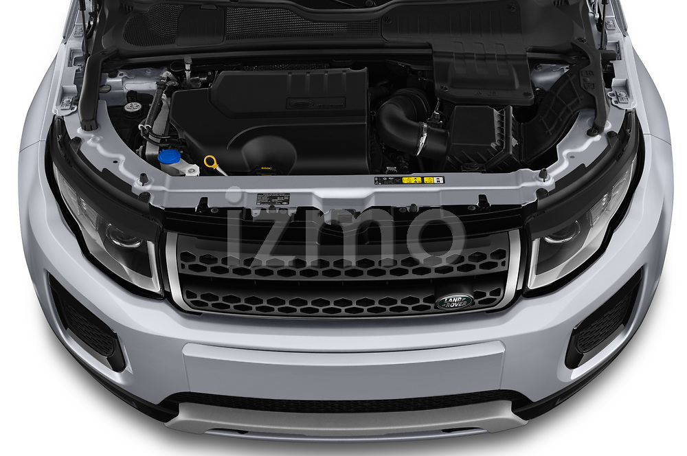 Car Stock 2019 Land Rover Range-Rover-Evoque SE 5 Door SUV Engine  high angle detail view