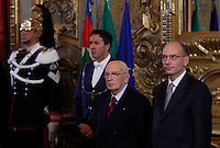 Il Presidente della Repubblica Giorgio Napolitano ed il Presidente del Consiglio Enrico Letta, a destra, al termine della cerimonia del giuramento del nuovo governo al Quirinale, Roma, 28 aprile 2013..Italy's Head of State Giorgio Napolitano and Premier Enrico Letta, left, look on at the end of the swearing in ceremony of the new government at the Quirinale presidential palace Rome, 28 April 2013..UPDATE IMAGES PRESS/Isabella Bonotto