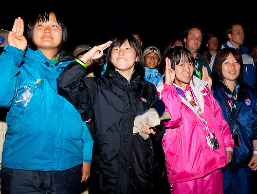 Asian girls renewing their promise during the opening ceremony