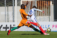 David Brooks of England is brought down in the penalty area and England are awarded a penalty during England Under-18 vs Ivory Coast Under-20, Toulon Tournament Final Football at Stade de Lattre-de-Tassigny on 10th June 2017