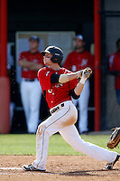 Kyle Attl #6 of the Cal State Northridge Matadors bats against the University of San Diego Toreros at Matador Field on March 26, 2013 in Northridge, California. (Larry Goren/Four Seam Images)