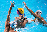 DI FULVIO Francesco ITA and MYLONAKIS Emmanouil GOUNAS Alexandros GRE<br /> GREECE vs ITALY<br /> GRE vs ITA<br /> Waterpolo - Men's 3rd-4th place <br /> Day 16 08/08/2015<br /> XVI FINA World Championships Aquatics Swimming<br /> Kazan Tatarstan RUS July 24 - Aug 9 2015 <br /> Photo Giorgio Perottino/Deepbluemedia/Insidefoto