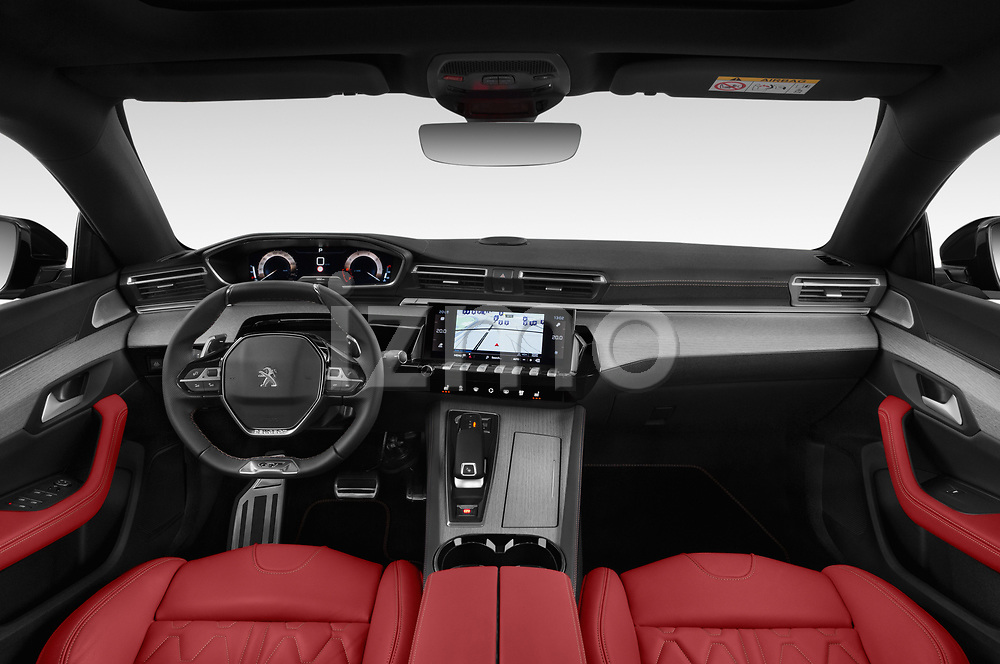Stock photo of straight dashboard view of a 2019 Peugeot 508 GT 5 Door Hatchback