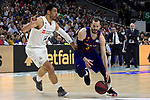 Real Madrid's Gustavo Ayon and Barcelona's Pau Ribas during Liga Endesa match between Real Madrid and FC Barcelona Lassa at Wizink Center in Madrid, Spain. March 24, 2019.  (ALTERPHOTOS/Alconada)