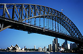Sydney, NSW, Australia. World famous Sydney Harbour Bridge with Sydney Opera House and skyline visible underneath.