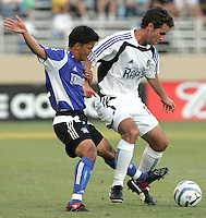29 June 2005:   Guy Melamed of Rapids fights for the ball against Mark Chung of Earthquakes during the first half of the game at Spartan Stadium in San Jose, California.   Earthquakes tied Rapids at 0-0 at halftime.   Mandatory Credit: Michael Pimentel / ISI