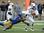 SIOUX FALLS, SD - NOVEMBER 3: Seven Wilson #7 from South Dakota State can not bring down quarterback Peyton Huslig #15 from Missouri State during their game Saturday afternoon at Dana J. Dykhouse Stadium in Brookings. (Photo by Dave Eggen/Inertia)