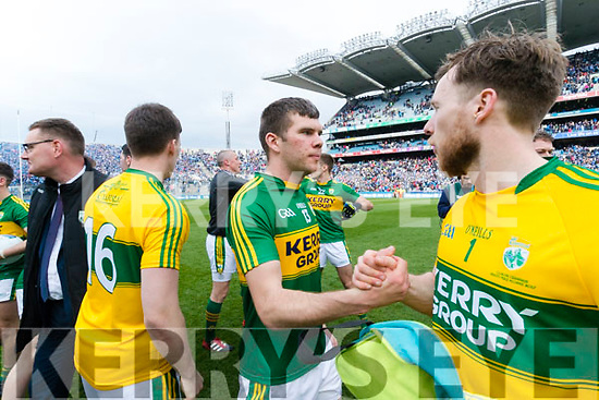 Kevin McCarthy and Brendan Kealy Kerry players celebrate after defeating Dublin at the National League Final in Croke Park on Sunday.