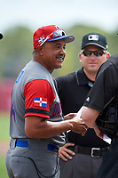 Dominican Republican manager Tony Pena (14) during the lineup exchange before a Spring Training exhibition game against the Baltimore Orioles on March 7, 2017 at Ed Smith Stadium in Sarasota, Florida.  Baltimore defeated the Dominican Republic 5-4.  (Mike Janes/Four Seam Images)