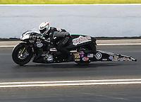May 31, 2014; Englishtown, NJ, USA; NHRA pro stock motorcycle rider John Hall during qualifying for the Summernationals at Raceway Park. Mandatory Credit: Mark J. Rebilas-