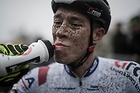 Laurens Sweeck (BEL/Era-Murprotec) after finishing the race<br /> <br /> UCI Cyclocross World Cup Namur/Belgium 2016