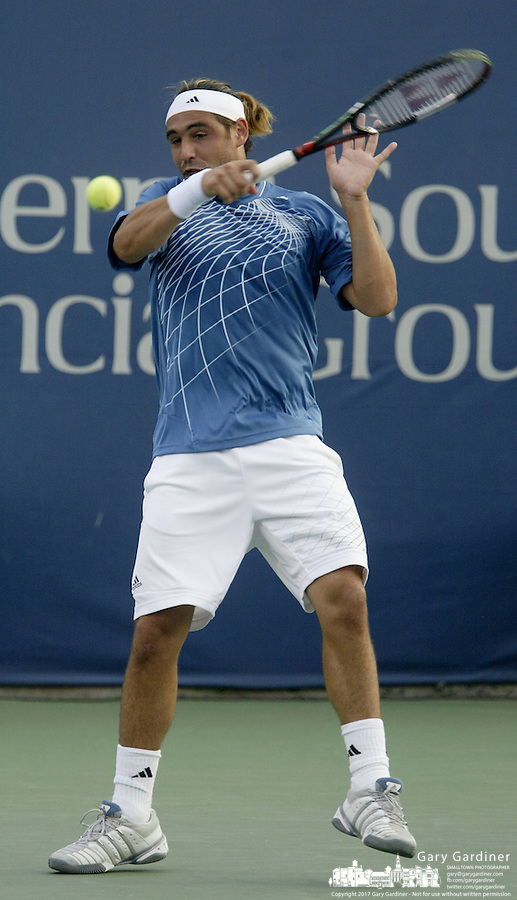 17 August 2006: Marcos Baghdatis, of Cypress, plays during the during the ATP Cincinnati Masters tennis tournament in Mason, Ohio.<br />