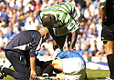 21/08/2005         Copyright Pic : James Stewart.File Name : jspa39 rangers v celtic.BARRY FERGUSON RECEIVES TREATMENT FOR AN INJURY RECEIVED DURING A CHALLENGE BY BOBO BALDE WHICH HAS ALL BUT RULED HIM OUT OF THE CHAMPIONS LEAGUE QUALIFIER AGAINST FAMAGUSTA.... .Payments to :.James Stewart Photo Agency 19 Carronlea Drive, Falkirk. FK2 8DN      Vat Reg No. 607 6932 25.Office     : +44 (0)1324 570906     .Mobile   : +44 (0)7721 416997.Fax         : +44 (0)1324 570906.E-mail  :  jim@jspa.co.uk.If you require further information then contact Jim Stewart on any of the numbers above.........