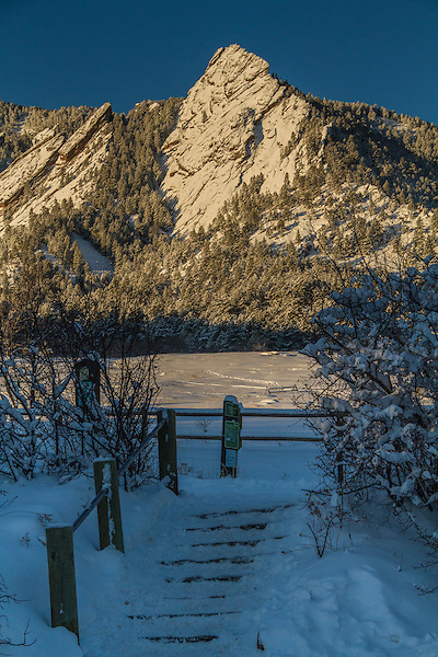 Trailhead at Chautauqua Park, winter, Boulder, Colorado, .  John leads private photo tours in Boulder and throughout Colorado. Year-round Boulder photo tours.