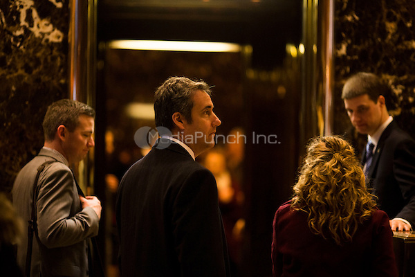 Lawyer Michael Cohen arrives at Trump Tower in Manhattan, New York, U.S., on Thursday, Thursday, January 12, 2017. <br /> Credit: John Taggart / Pool via CNP /MediaPunch