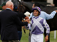 October 10, 2018 : Trainer George Arnold and jockey Jose Lezcano share a hug after winning the JCPMorgan Chase Jessamine.<br /> #4 Concrete Rose and jockey Jose Lezcano win the 28th running of The JPMorgan Chase Jessamine Grade 2 $200,000 &quot;Win and You're In Breeders' Cup Juvenile Fillies Turf Division&quot; for trainer George Arnold and owner Ashbrook Farm, BBN Racing at Keeneland Race Course on October 10, 2018 in Lexington, KY.  Candice Chavez/ESW/CSM