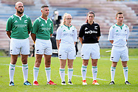 Match officials for the Women's Cup Final between Manawatu and Waikato on day two of the 2018 Bayleys National Sevens at Rotorua International Stadium in Rotorua, New Zealand on Sunday, 14 January 2018. Photo: Dave Lintott / lintottphoto.co.nz