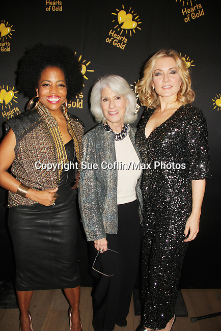 Rhonda Ross - Jamie deRoy - Amy Carlson - Hearts of Gold annual All That Glitters Gala - 24 years of support to New York City's homeless mothers and their children - (VIP Reception - Silent Auction) was held on November 7, 2018 at Noir et Blanc and the 40/40 Club in New York City, New York.  (Photo by Sue Coflin/Max Photo)