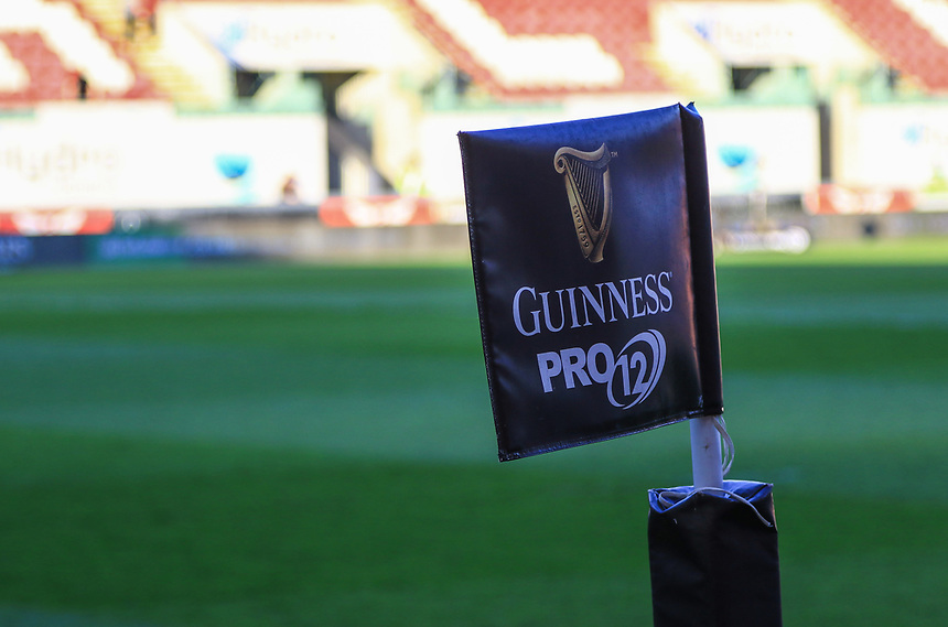 Guiness Pro 12 Corner flag at Parc y Scarlets<br /> <br /> Photographer Dan Minto/CameraSport<br /> <br /> Guinness PRO12 Round 18 - Scarlets v Edinburgh Rugby - Friday 24th March 2017 - Parc y Scarlets - Llanelli<br /> <br /> World Copyright &copy; 2017 CameraSport. All rights reserved. 43 Linden Ave. Countesthorpe. Leicester. England. LE8 5PG - Tel: +44 (0) 116 277 4147 - admin@camerasport.com - www.camerasport.com