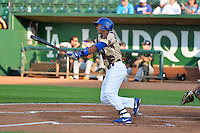 Yensys Capellan (10) of the Ogden Raptors at bat against the Great Falls Voyagers in Pioneer League action at Lindquist Field on July 17, 2014 in Ogden, Utah.  (Stephen Smith/Four Seam Images)