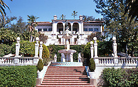 Hearst Castle: Stairway to sculptural fountain and castle. Photo '86.
