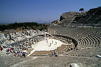 Detail of ancient historical amphitheatre at wonderful ruins of Ephesus Turkey