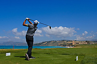 Federico Maccario (ITA) on the16th tee during Round 2 of the Rocco Forte Sicilian Open 2018 on Friday 11th May 2018.<br /> Picture:  Thos Caffrey / www.golffile.ie<br /> <br /> All photo usage must carry mandatory copyright credit (&copy; Golffile | Thos Caffrey)