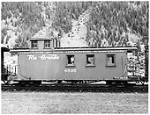 D&amp;RGW long caboose #0505 in Silverton.<br /> D&amp;RGW  Silverton, CO  Taken by Payne, Andy M. - 8/20/1954