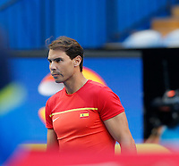 4th January 2020; RAC Arena, Perth, Western Australia; ATP Cup Australia, Perth, Day 2; Spain versus Georgia; Rafael Nadal of Spain lines up for the National Anthem - Editorial Use