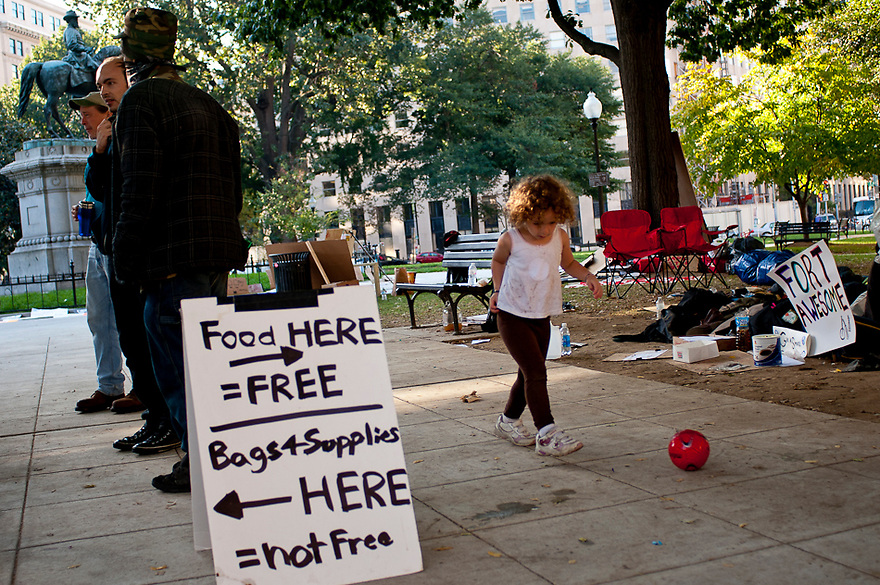 """Protesters with Stop the Machine were still camped out and in """"occupation"""" of Freedom Plaza in Washington, D.C. on Sunday. ..The group, which is protesting against corporate greed, bad political leaders and a widening gap between the poor and the rich, has vowed to stay indefinitely. The groups only have Park Service permits through Sunday."""