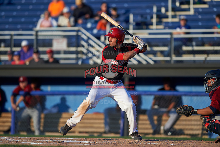 Batavia Muckdogs first baseman Eric Fisher (29) at bat during the second game of a doubleheader against the Mahoning Valley Scrappers on July 2, 2015 at Dwyer Stadium in Batavia, New York.  Mahoning Valley defeated Batavia 3-0.  (Mike Janes/Four Seam Images)