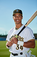 Bradenton Marauders Cal Mitchell (34) poses for a photo before a Florida State League game against the Fort Myers Miracle on April 23, 2019 at LECOM Park in Bradenton, Florida.  Fort Myers defeated Bradenton 2-1.  (Mike Janes/Four Seam Images)