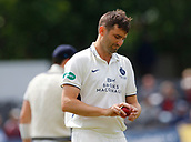 June 11th 2017, Trafalgar Road Ground, Southport, England; Specsavers County Championship Division One; Day Three; Lancashire versus Middlesex; Tim Murtagh of Middlesex turns to begin his run up; Lancashire resumed at 123-4 in reply to Middlesex's first innings score of 180 all out