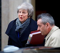 Prime Minister Theresa May leaving Downing Street to go to the Houses of Parliament for Brexit debate.<br /> London, England on January 16, 2019<br /> &copy;GOL/Capital Pictures /MediaPunch ***NORTH AND SOUTH AMERICAS ONLY***