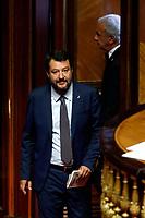 Matteo Salvini<br /> Rome September 10th 2019. Senate. Discussion and Trust vote at the new Government. <br /> Foto  Samantha Zucchi Insidefoto