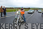 Den Joe O'Connor rides his Harley Davison down the Castleisland By-pass at its official opening on Friday