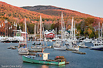 Autumn sunrise in Camden Harbor, Camden, ME, USA