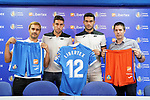 Getafe CF's Marketing Chief Alberto Heras (r), Libertex PR and Sponsorship Communications Manager Marcos Del Rio (l) and the players Jaime Mata (c-l) and Jorge Molina during the new Premium Plus Partne, Libertex, official presentation. August 9, 2019. (ALTERPHOTOS/Acero)