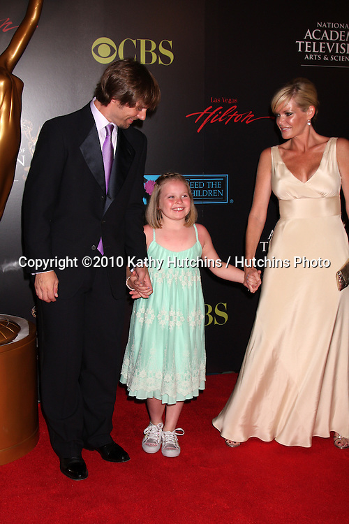 Scott DeFreitas, Maura West, daugher Kate.arrives at the 2010 Daytime Emmy Awards .Las Vegas Hilton Hotel & Casino.Las Vegas, NV.June 27, 2010.©2010 Kathy Hutchins / Hutchins Photo....